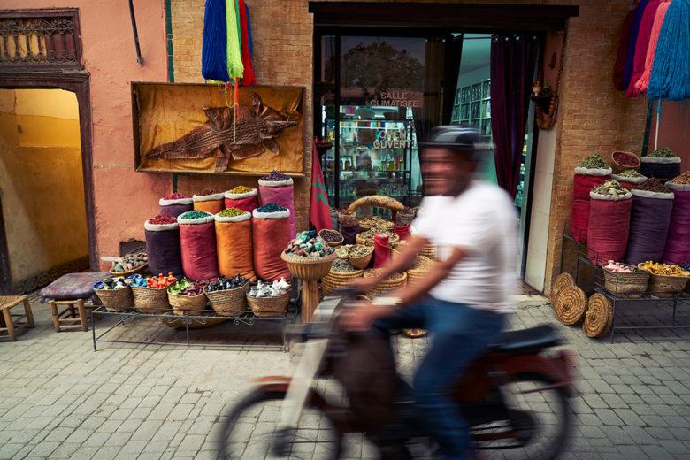 Marrakech motor scooter street market
