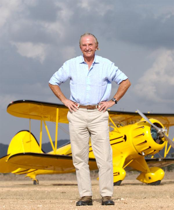 Geoffrey Kent and Biplane in Kenya Africa