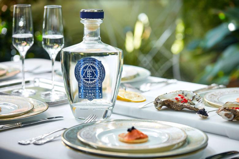 Tequila Enemigo with salmon and caviar