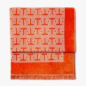 Tory Burch T Terry Beach Towel in Orange