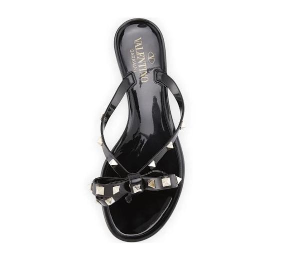Valentino Garavani Women's Rockstud Bow Jelly Thong Sandals