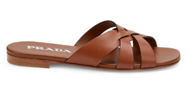 Brown prada slides.