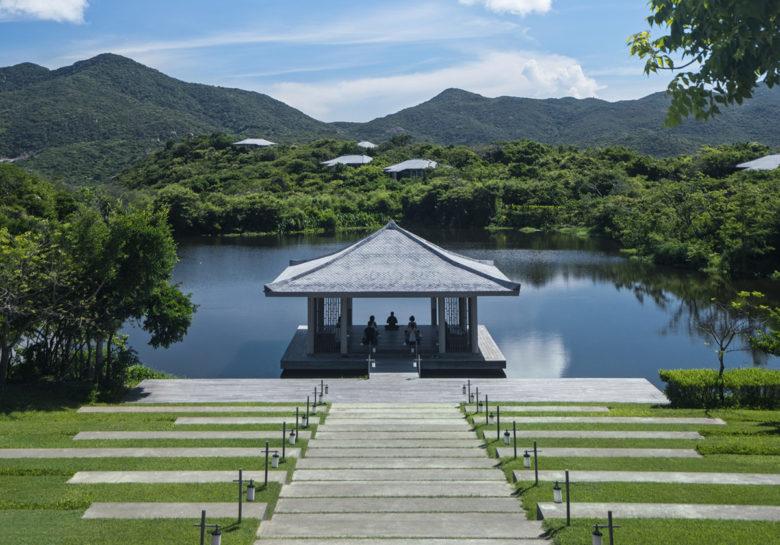 Amanoi Spa Yoga pavilion on spa lake Vietnam