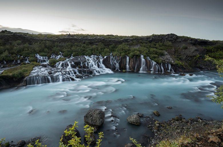 Iceland best scenery at Hraunfossar Waterfall