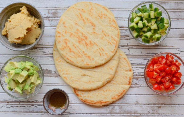 ingredients for Greek pizza appetizer recipe