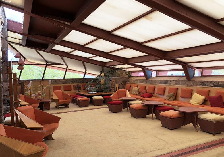 Taliesan West living room by Frank Lloyd Wright