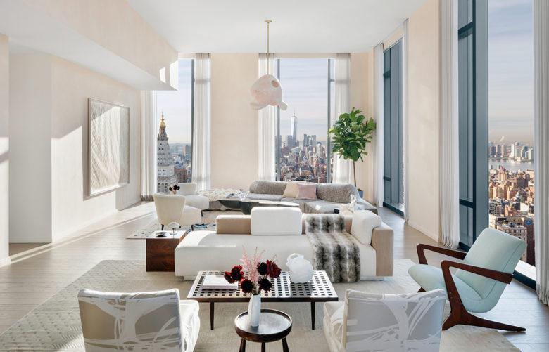 luxury New York penthouse modern living room