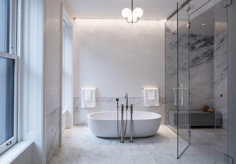 minimal designed bathroom in New York brownstone