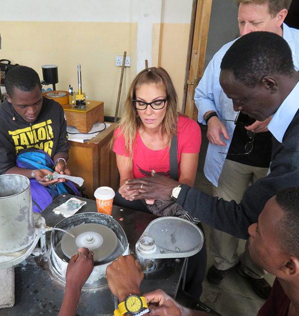 Debra Navarro visiting lapidary school in Tanzania Kenya