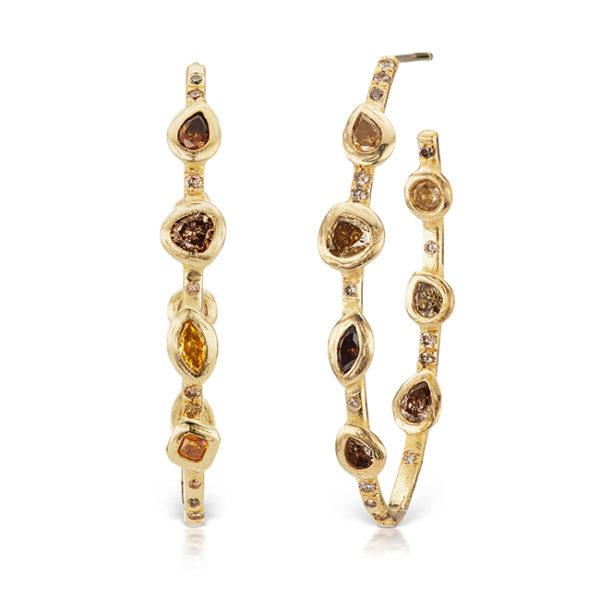 Stepping Stones hoop earrings by Debra Navarro jewelry