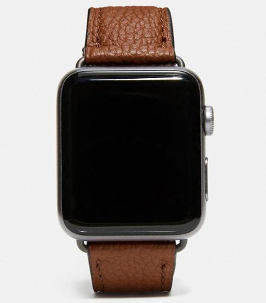 designer luxury Apple watch band by Coach