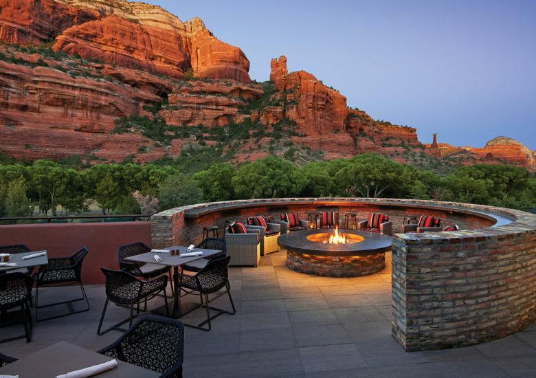 patio at The Enchantment Resort in Sedona Arizona