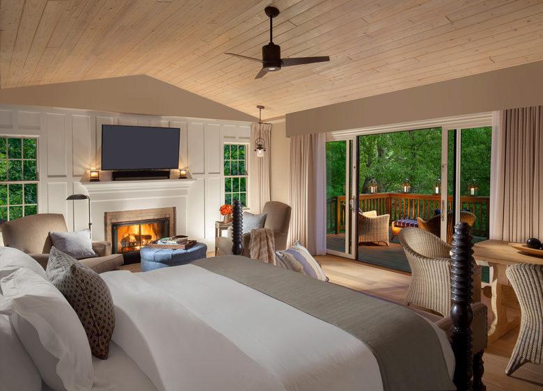 romantic resort room at L'Auberge in Sedona