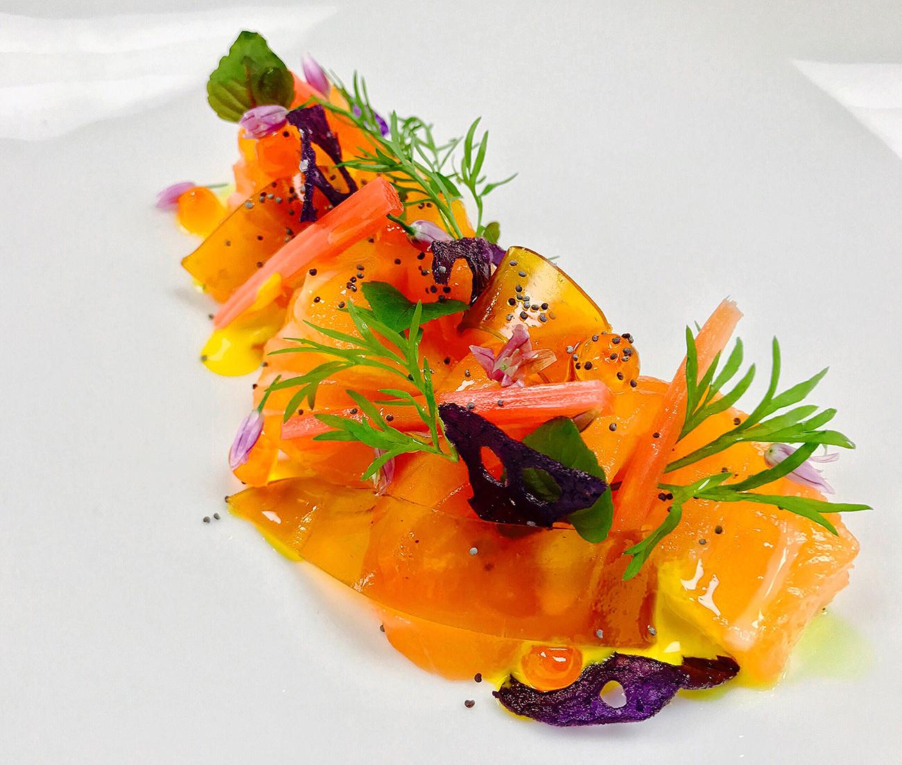 Hijiki Cured Salmon at Haiku a new luxury restaurant Miami