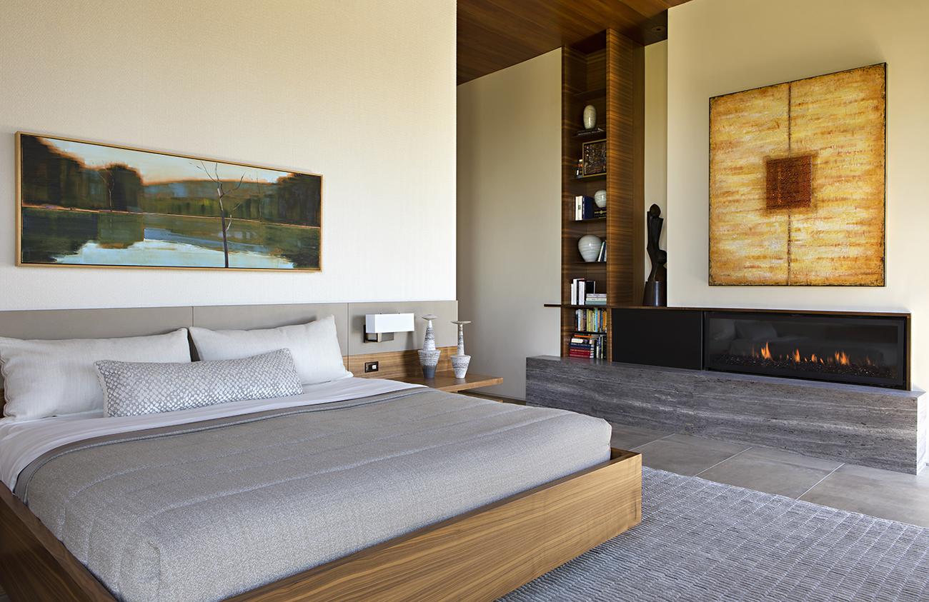modern master bedroom by IMI Design