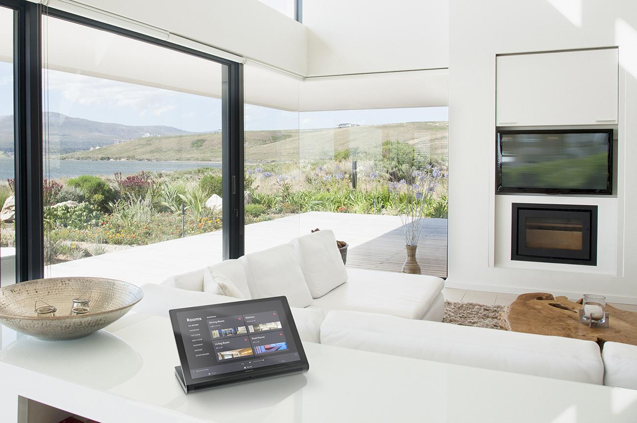 Living room overlooking lake
