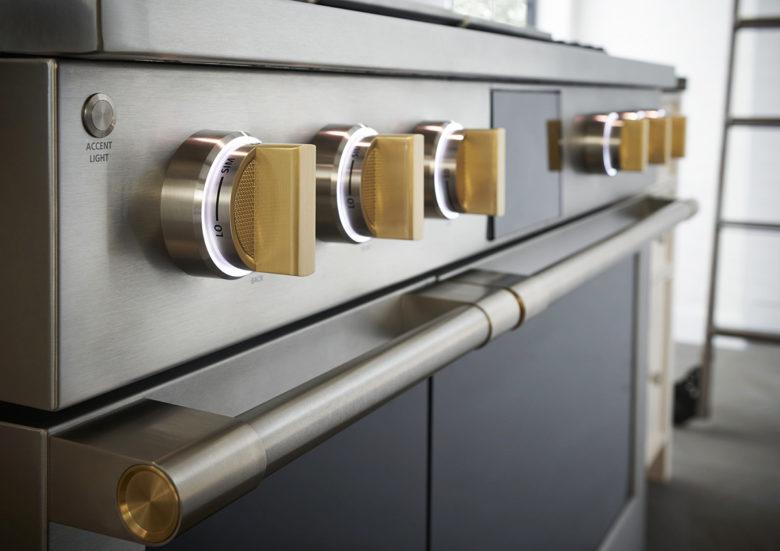 GE Monogram brass details professional range