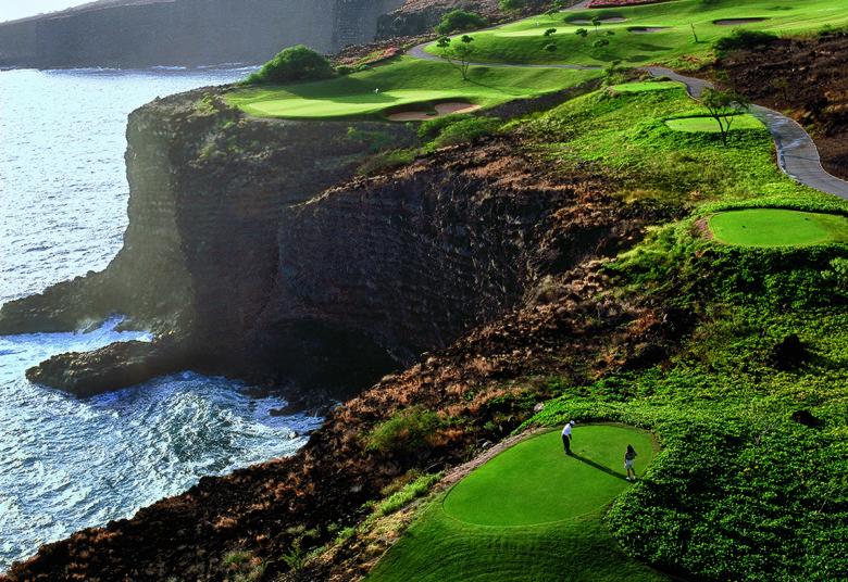 golf at luxury Hawaiian Four Seasons Resort in Lanai