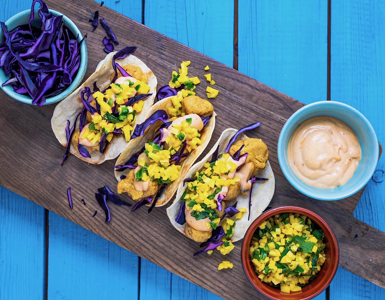 vegan Baja tacos by chef Eddie Garza