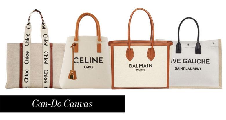 Chloe-Saint-Laurent-Celine-and-Balmain-canvas-beach-bag