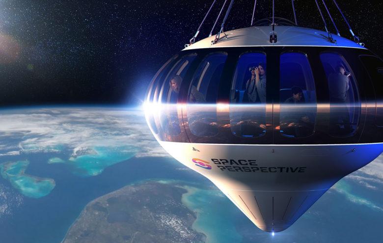 Spaceship Neptune space balloon flight over Earth