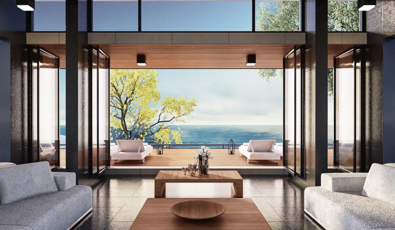 Beach,Luxury,Living,On,Sea,View,/,3d,Render